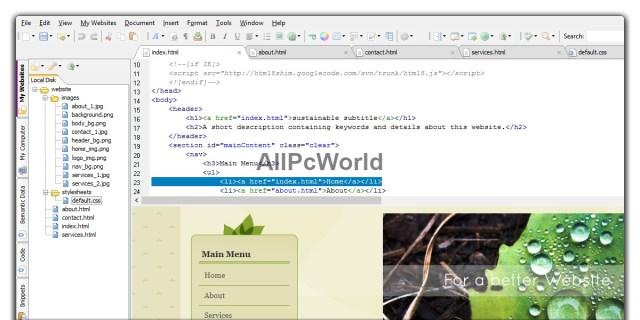 HTML Editor User Interface