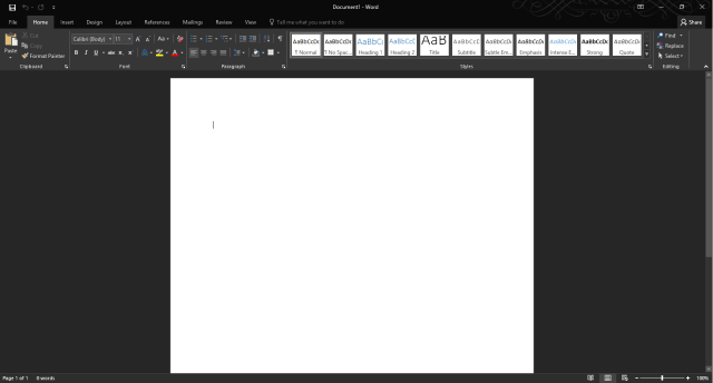 Microsoft Word 2016 User Interface