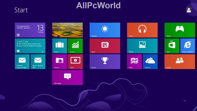 Microsoft Windows 8.0 Start menu