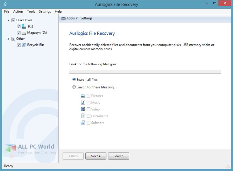 Auslogics File Recovery 7.1 User Interface