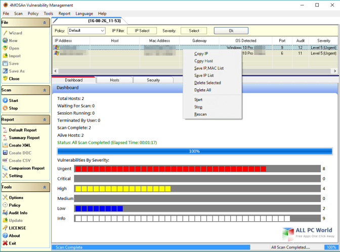 4MOSAn Vulnerability Management Portable 5.0.2.6 User Interface