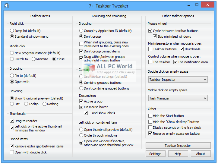 7+ Taskbar Tweaker 5.2.1 User Interface
