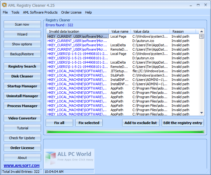 AML Registry Cleaner 4.25 user Interface