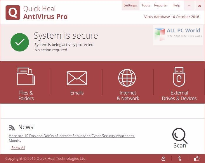Quick Heal Antivirus Pro 17 User Interface