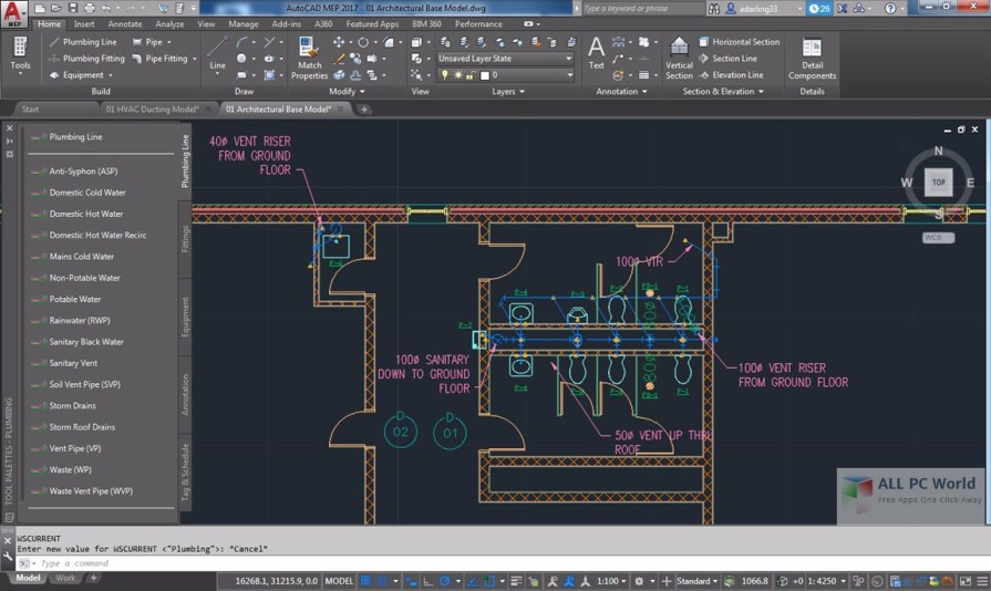 AutoCAD MEP 2017 User Interface