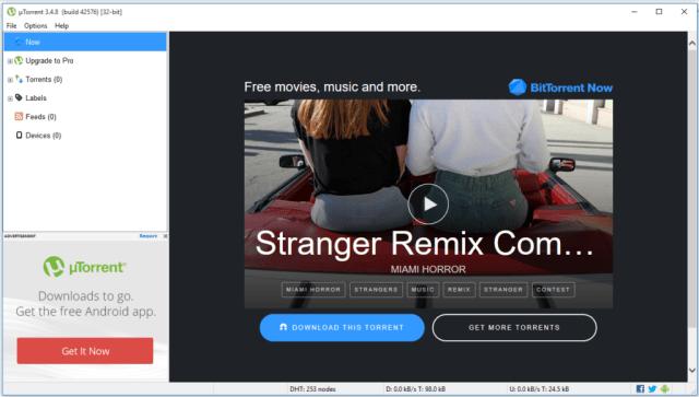 uTorrent user Interface