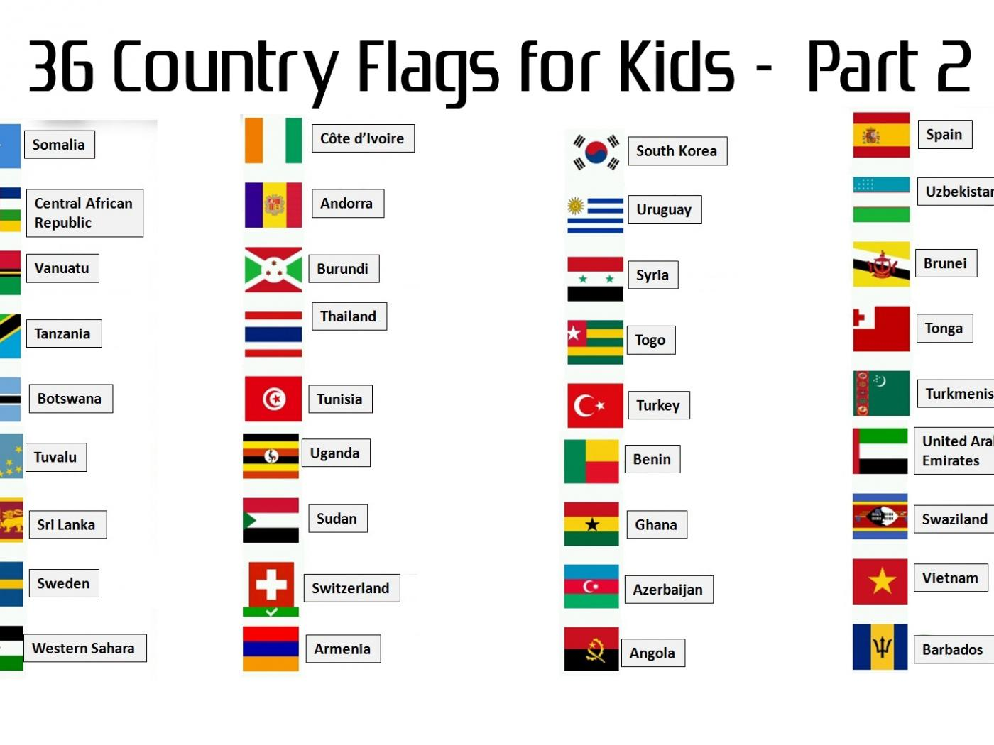 36 Country Flags With Names For Kids