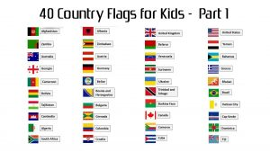 Attachment file to download for 40 country flags with names for kids - Part 1