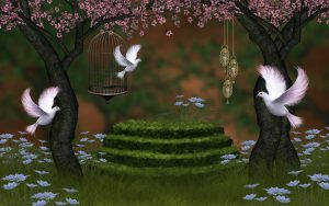 Beautiful Nature Wallpaper for Desktop in 3d with Pigeons and Cherry Blossoms
