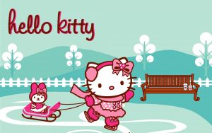 Picture of Hello Kitty Wallpaper Blue and Pink