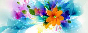 Picture of Abstract 3D Painting Wallpaper with Colorful Flower