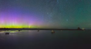 Picture of Nature Wallpaper with Harbor Aurora Borealis in Lindisfarne - Holy Island