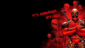 Attachment file of Deadpool HD Picture with Skulls in Abstract and Red Black Background