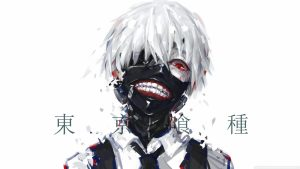 Attachment file to download for Cool Tokyo Ghoul Kaneki Ken Mask Wallpaper with white Hairs