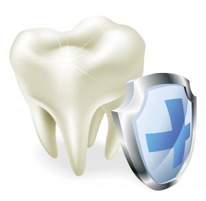 Protected teeth concept for dental insurance icon