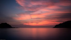Long Exposure Photo of Tropical Sunset in the Northwest Coast of Pangkor Island Malaysia