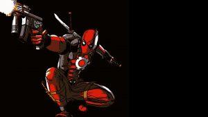 Free Download Deadpool Cartoon in Dark Background for Wallpaper