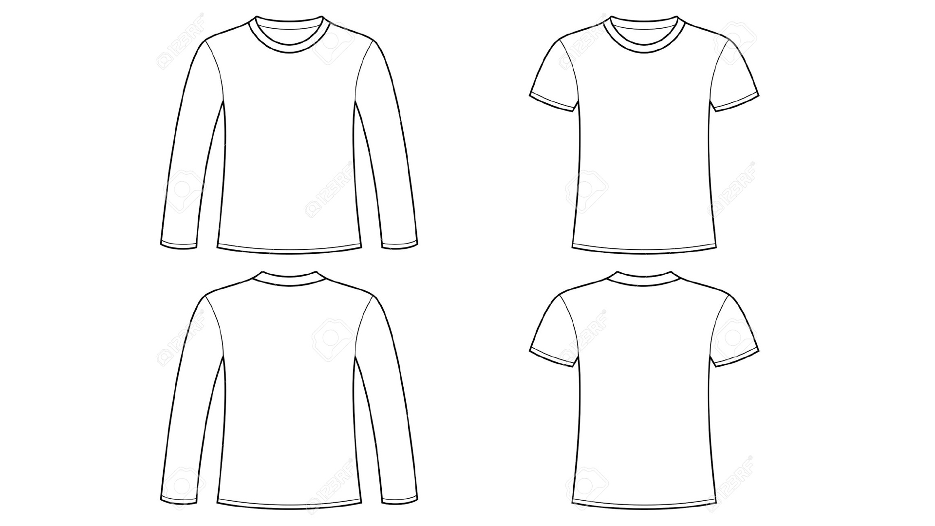Blank Tshirt Template Clip Art With Long Sleeve