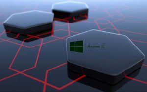 Windows 10 Desktop Image with 3D Art Black Hexagonal Wallpapers