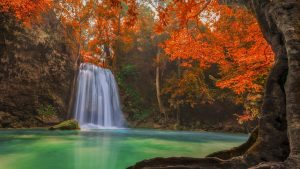 Attachment HD picture of nature with waterfall on autumn forest