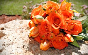 Orange Flowered Wallpaper with Ranunculus