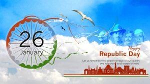 Republic Day 2020 Background with four Indian Greats Patriots