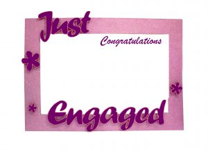 congratulation frame for engagement in purple