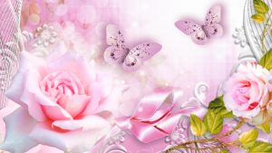 Animated Pictures of Pale Rose Flowers and Butterflies