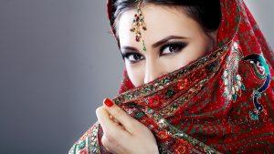 Beautiful Eyes of Indian Girl with Saree