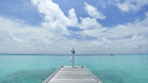 Perfect Desktop Background with Yoga Pose at the Beach