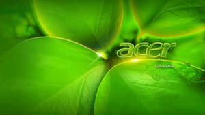 Acer Series Laptop Background with 3D Green Leaves