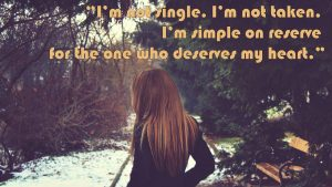 Happy single quotes wallpaper with picture of alone women