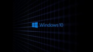 Windows 10 3D Black Wallpaper with Abstract Grid Lines for Desktop