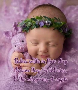 Top 20 Baby Quotes and Sayings for Mom 09 - Babies smile in their sleep