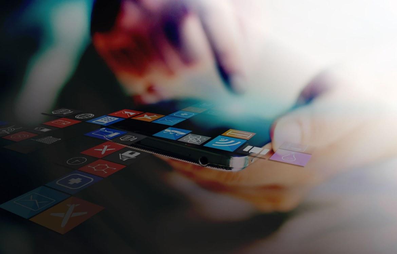 Hand Holding smartphone, social media icon