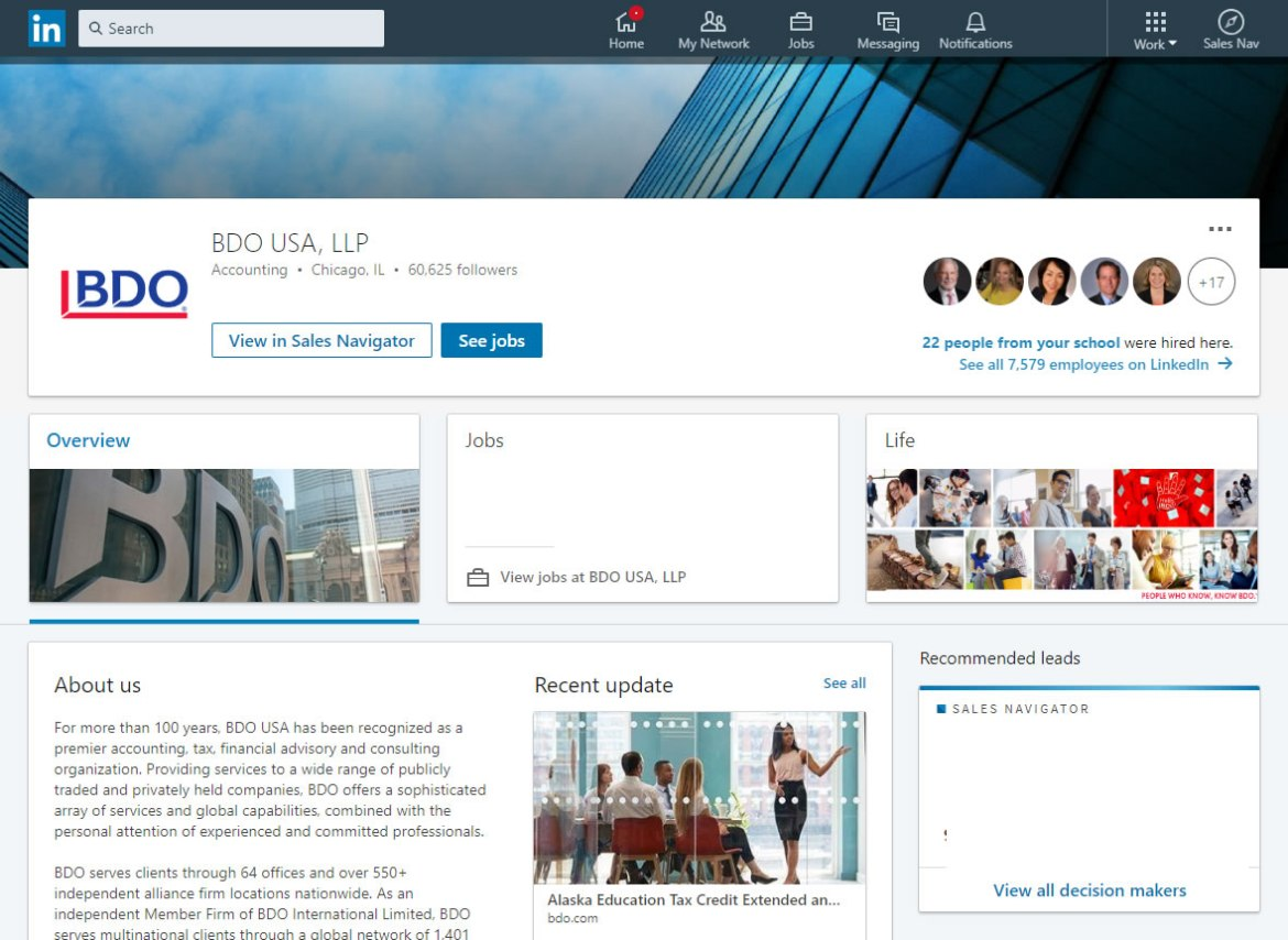 BDO USA LLP LinkedIn screenshot