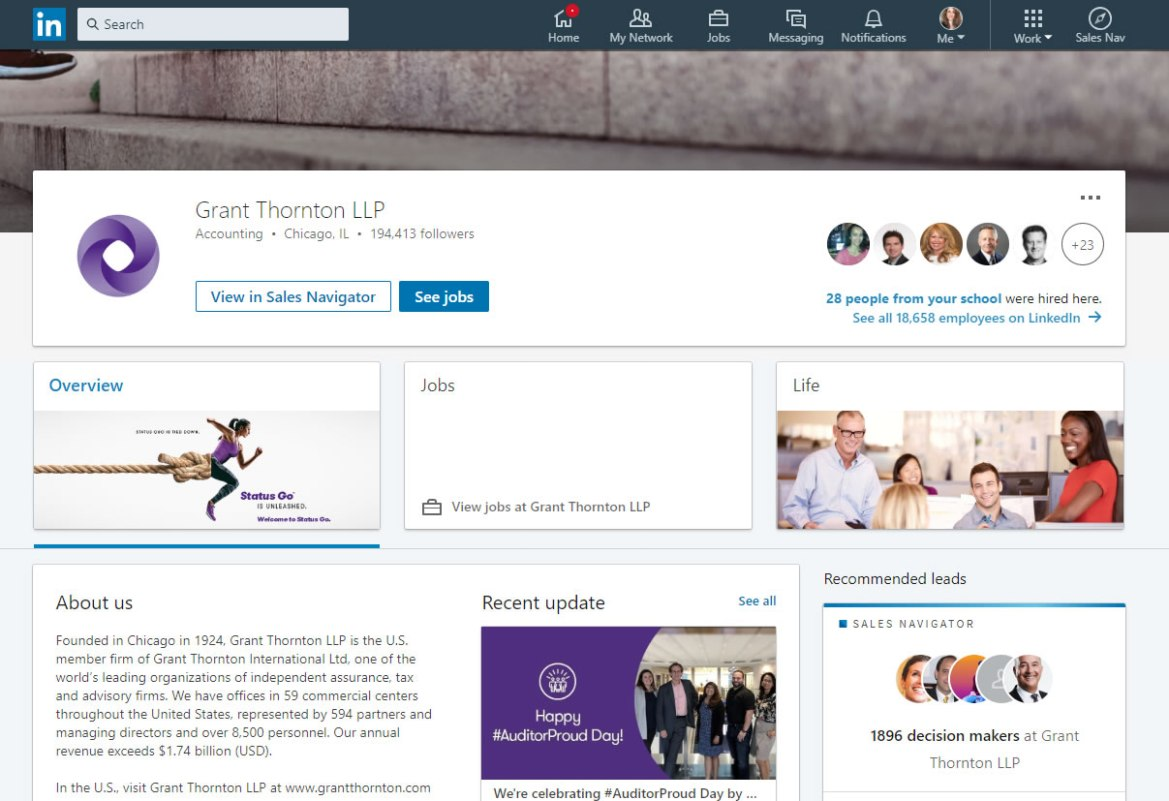 Grant Thornton LinkedIn screenshot