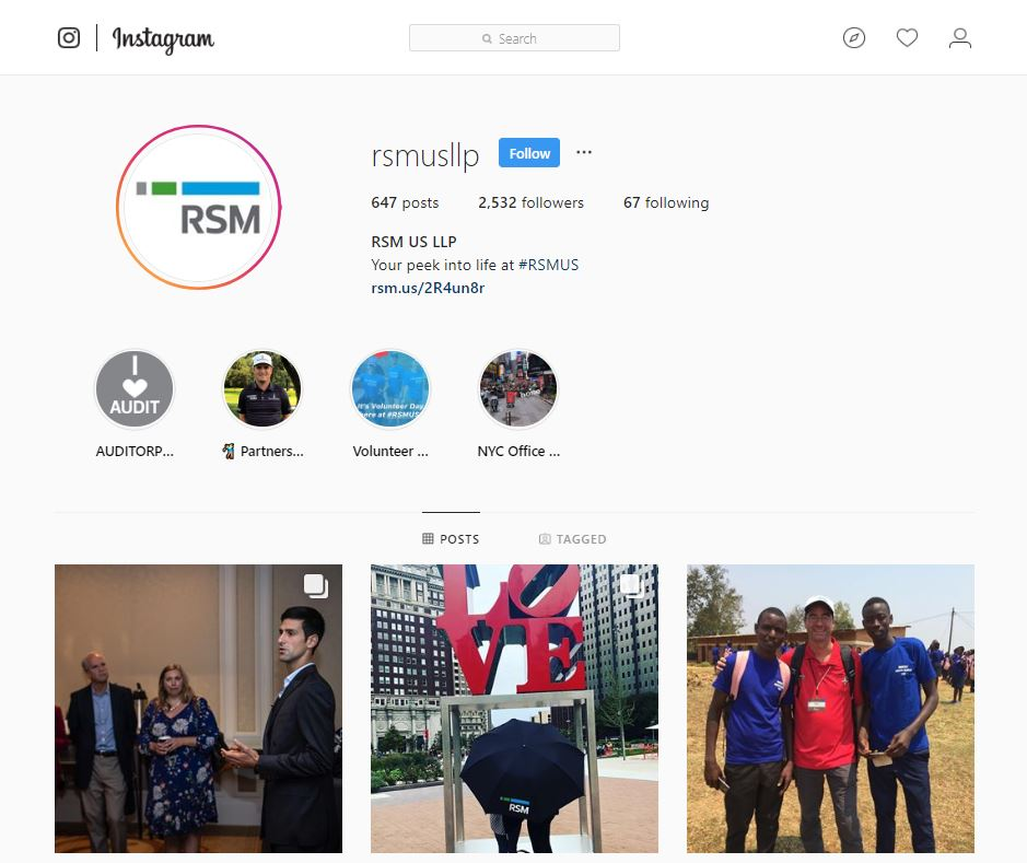RSM US LLP Instagram account screenshot