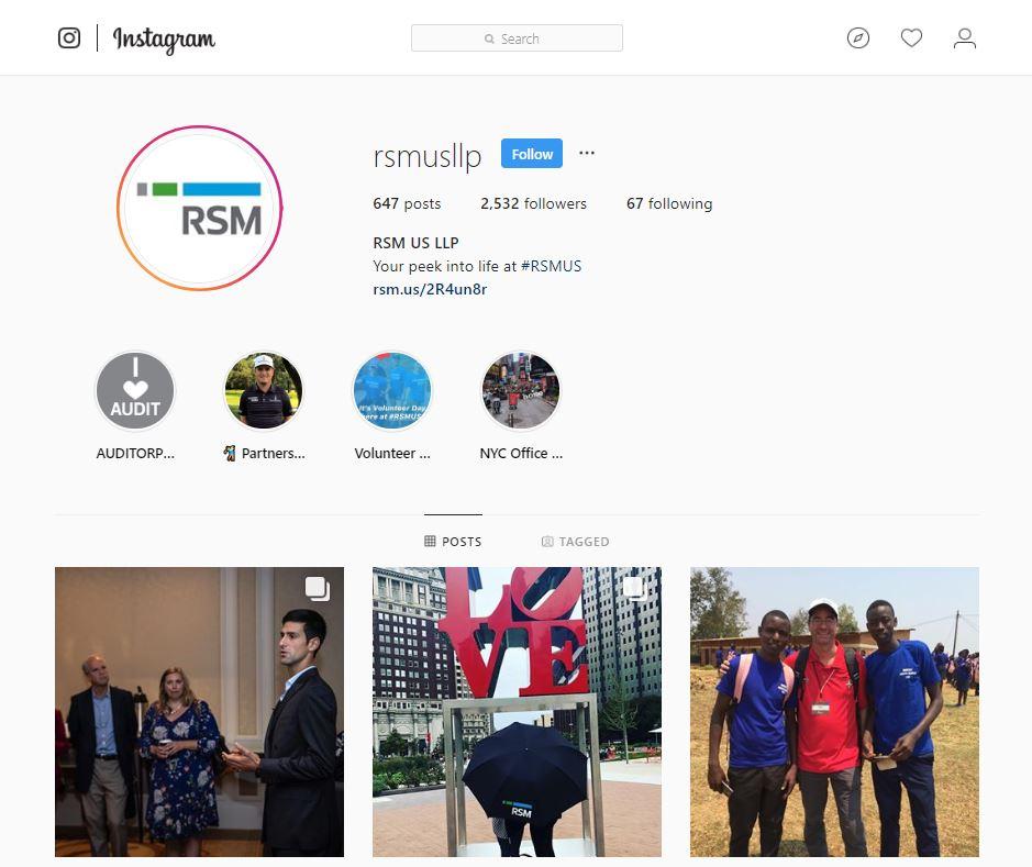 RSM US LLP Instagram account screenshot
