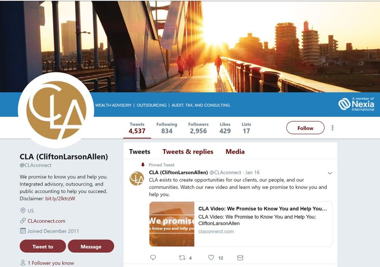CliftonLarsonAllen LLP Twitter account screenshot