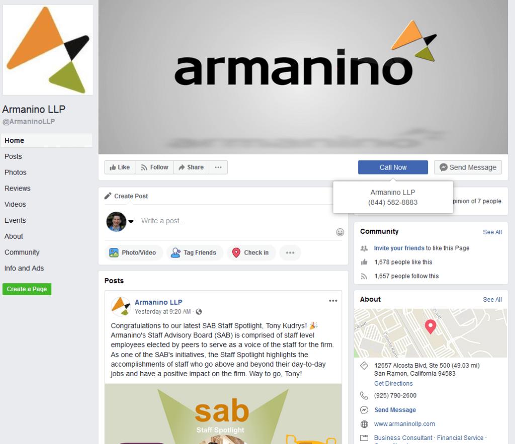 Armanino LLP Facebook screenshot