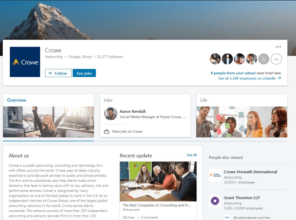 Crowe Horwath LLP LinkedIn screenshot