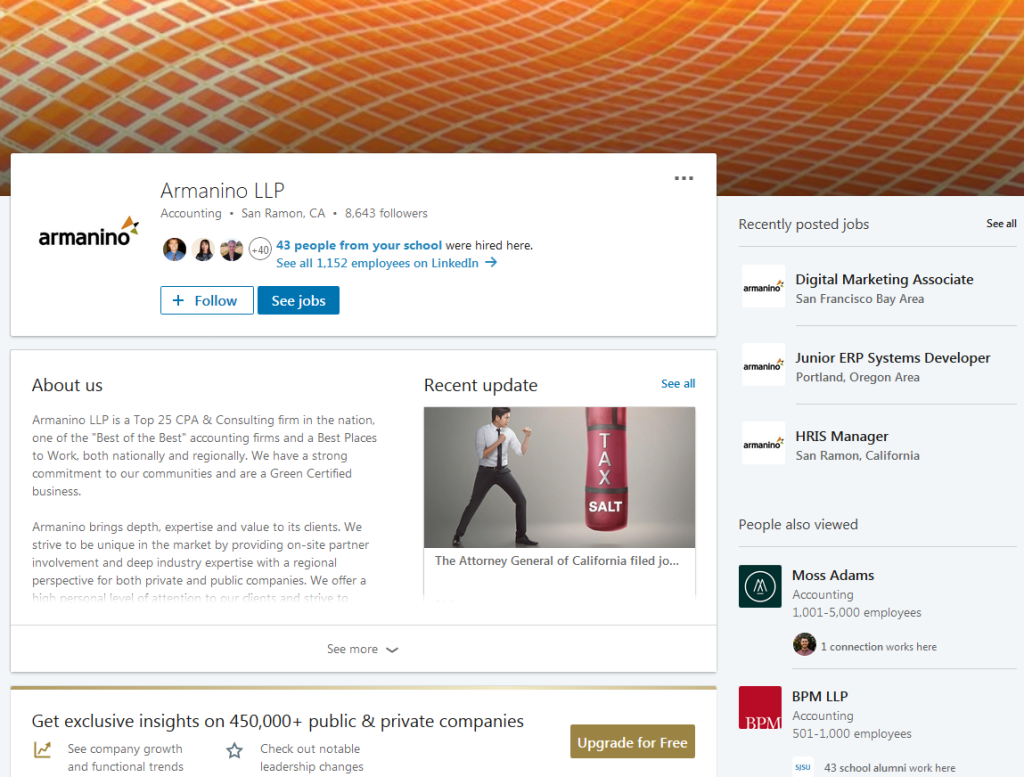 Armanino LLP LinkedIn screenshot