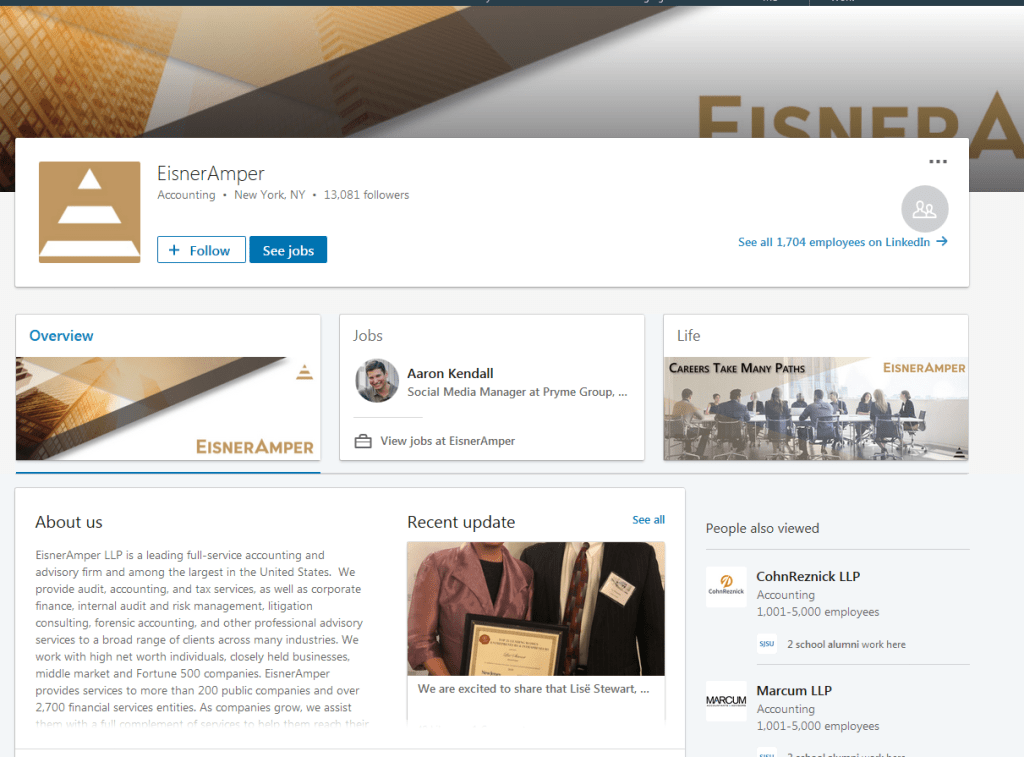 Eisneramper LLP LinkedIn screenshot