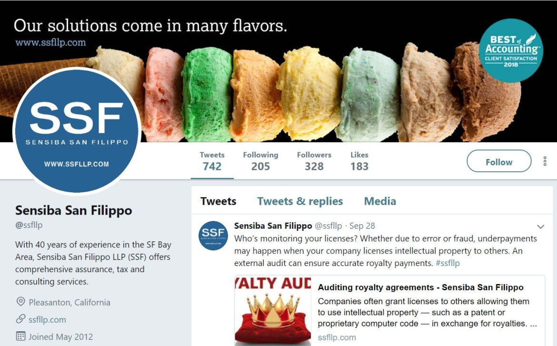 Sensiba San Filippo LLP Twitter account screenshot