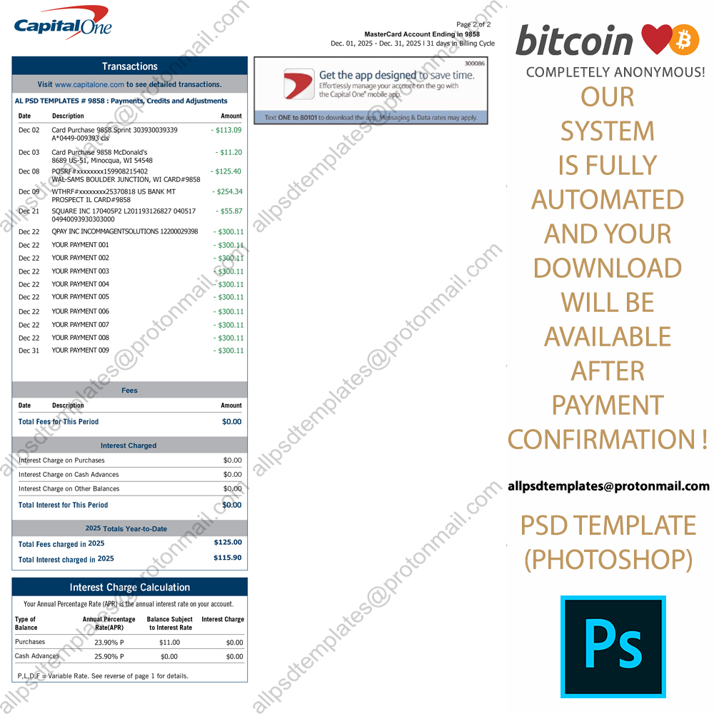 Capital One Credit Card Statement Template - ALL PSD TEMPLATES Pertaining To Credit Card Statement Template
