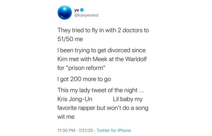 Kanye West Tweets He Was Trying To Divorce Kim Kardashian Since 2018 deleted tweet