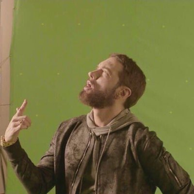 Eminem on green background image