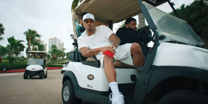 Nas and DJ Khaled image on golf cart