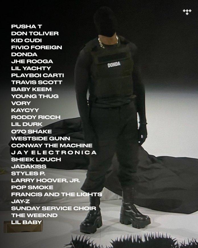 Kanye West DONDA album features list